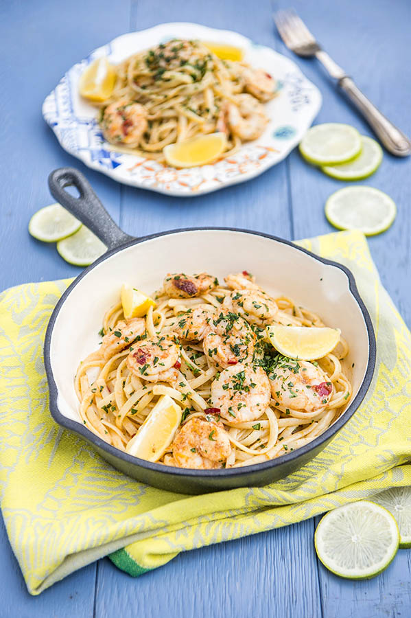 prawn and lemon butter pasta