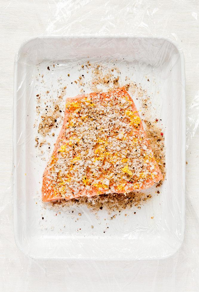 Salmon Gravlax Preparation