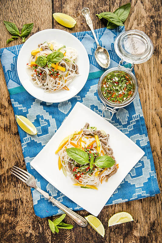 mango and beef rice noodle salad
