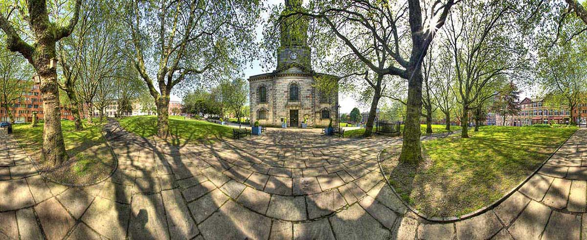 st pauls church birmingham panorama