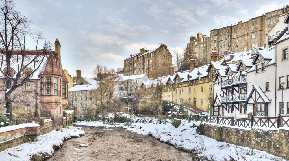 Dean Village Edinburgh snow photos